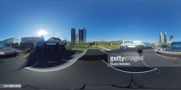 General view of the BMX course at the Urban Park in Puerto Madero ahead of the Buenos Aires 2018 Youth Olympic Games on on October 2, 2018 in Buenos...