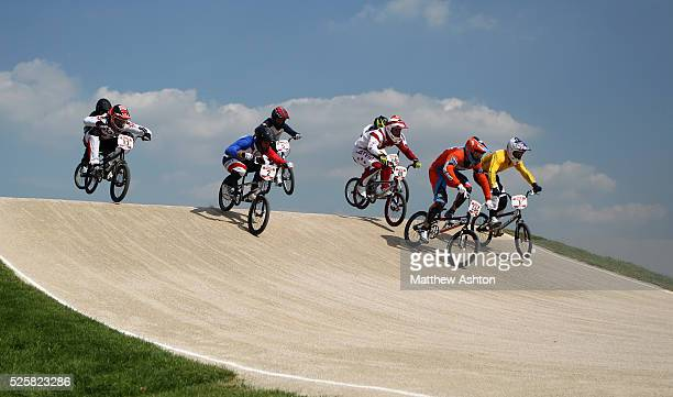 General view of the BMX racing during the 2012 London Olympic Summer Games at the BMX track, Olympic Park, London, England, UK on August 10th 2012