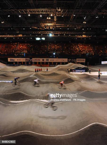 General view of the BMX track during free practice during the BMX World Championships at the National Indoor Arena Birmingham