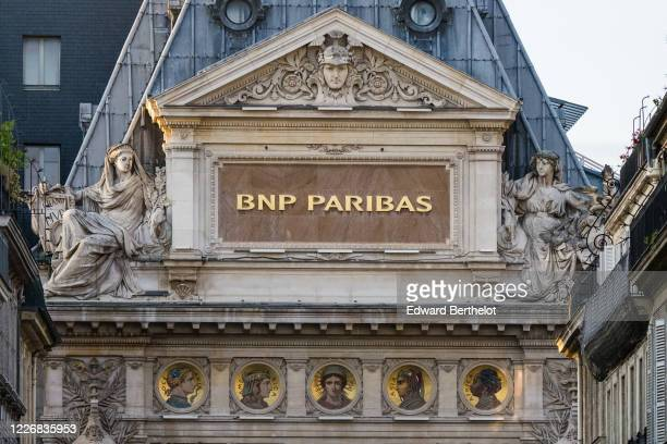 General view of the BNP Paribas logo on the BNP Paribas office located at Bergere street, on May 24, 2020 in Paris, France. The Coronavirus pandemic...