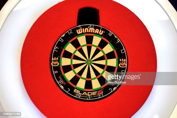 General view of the board prior to the BDO Lakeside Professional Men's Championship Final during Day Nine of the BDO World Darts Championship at...