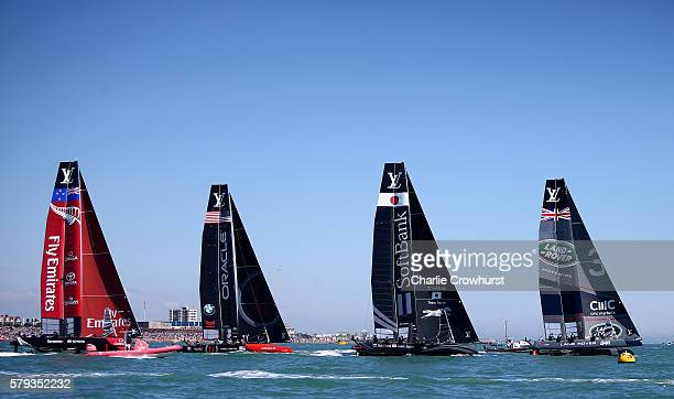 A general view of the boats racing during day two of the Louis Vuitton America's Cup World Series on July 23 2016 in Portsmouth England
