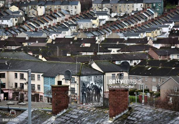 A general view of the Bogside area and the Bloody Sunday mural depicting Father Edward Daly waving a white handkerchief pictured on February 24 2017...