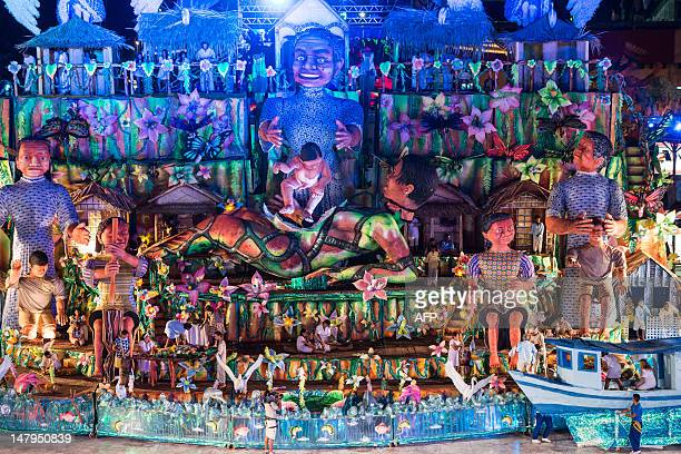 General view of the Boi Bumba folkloric festival at the Bumbodromo in Parintins an island on the Amazon river about 370km east of Manaus northern...