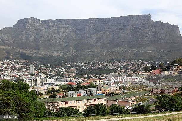 A general view of the BoKaap area of Cape Town beneath Table Mountain ahead of the 2010 FIFA world Cup on October 22 2009 in Cape Town South Africa