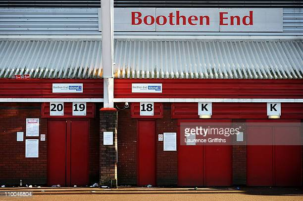 A general view of the Boothen End turnstiles after the FA Cup sponsored by EON 6th Round match between Stoke City and West Ham United at the...