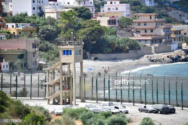 General view of the border between Morocco and Ceuta, on August 21, 2018 in Ceuta, Spain. Many migrants are still attempting to cross the border...