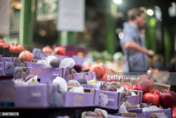 General view of the Borough Market's groceries cheese and street speciality food sellers in London on October 7 2017 The presentday market mainly...