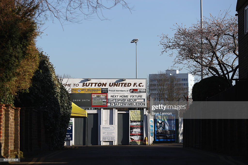 A general view of The Borough Sports Ground during media access to Sutton United FC ahead of their FA Cup 3rd round match against AFC Wimbledon on January 5, 2017 in Sutton, Greater London.