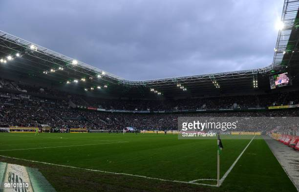 A general view of the Borussia Park stadium during the Bundesliga match between Borussia Moenchengladbach and Hamburger SV at Borussia Park on March...