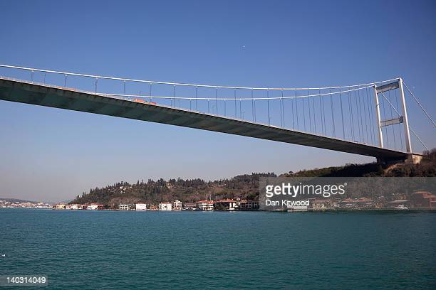 A general view of the Bosphorus Bridge which spans between the Asian and European sides of Istanbul on February 21 2012 in Istanbul Turkey Though not...