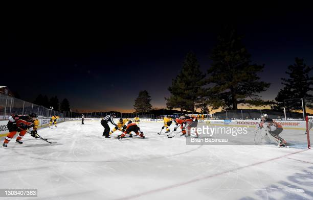 General view of the Boston Bruins playing against the Philadelphia Flyers facing off during the second period of the 2021 NHL Outdoors Sunday...