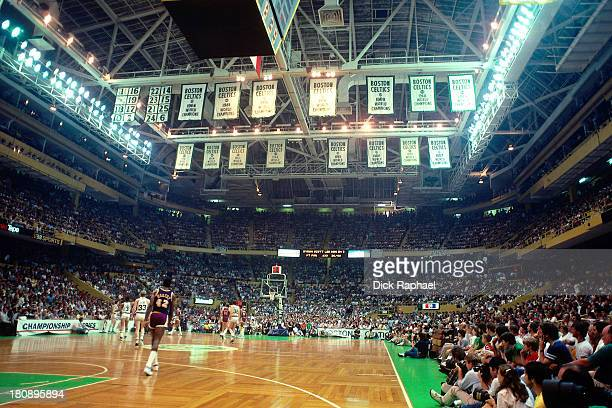 A general view of the Boston Garden during a game between the Los Angeles Lakers and the Boston Celtics circa 1985 in Boston Massachusetts NOTE TO...