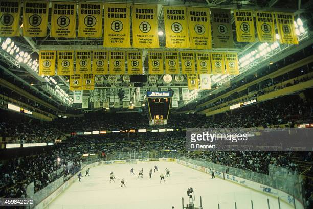General view of the Boston Garden during the game between the New York Rangers and Boston Bruins on April 23 1995 at the Boston Garden in Boston...