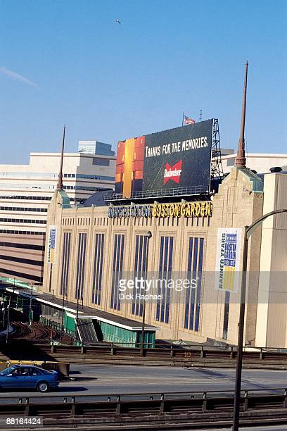 A general view of the Boston Garden exterior prior to a game in 1995 at the Boston Garden in Boston Massachusetts NOTE TO USER User expressly...