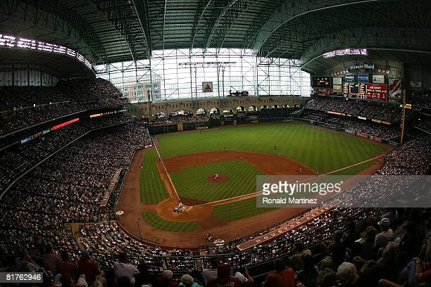 A general view of the Boston Red Sox and the Houston Astros during an interleague MLB game at Minute Maid Park June 29 2008 in Houston Texas