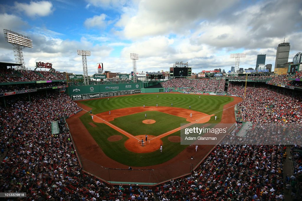 A general view of the Boston skyline during a game between the Boston Red Sox and the New York Yankees at Fenway Park on August 4, 2018 in Boston, Massachusetts.