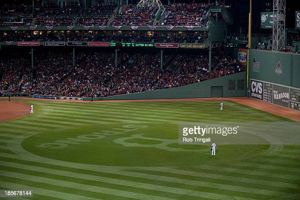 A general view of the Boston Strong logo in the outfield grass during Game 1 of the 2013 World Series between the Boston Red Sox and the St Louis...