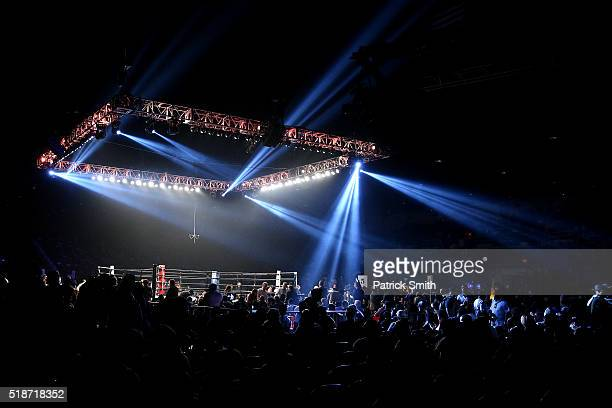 A general view of the boxing ring between bouts at the DC Armory on April 1 2016 in Washington DC