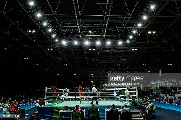 A general view of the boxing ring is seen during the international Boxing tournament as a test event for Rio 2016 Olympic games at Riocentro in Rio...