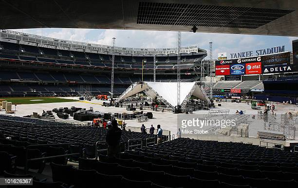 A general view of the boxing ring under construction for the Cotto and Foreman WBA light middleweight title fight on June 4 2010 at Yankee Stadium in...