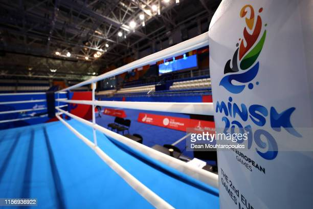 A general view of the boxing venue ring held at the Uruchie Sports Palace prior to the hosting of the second European Games on June 19 2019 in Minsk...