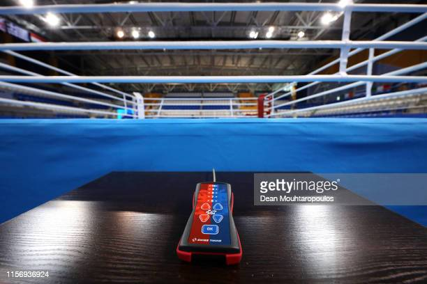 General view of the boxing venue ring held at the Uruchie Sports Palace prior to the hosting of the second European Games on June 19, 2019 in Minsk,...