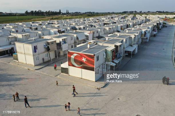 General view of the Boynuyogun refugee camp which houses round 8,500 refugees from northern Syrian in 600 houses, on September 16, 2019 in Hatay,...