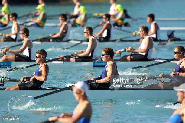 General view of the Boys Coxed Four during the 2013 Meridian Otago Rowing Championships at Lake Ruataniwha on December 14, 2013 in Central Otago, New...