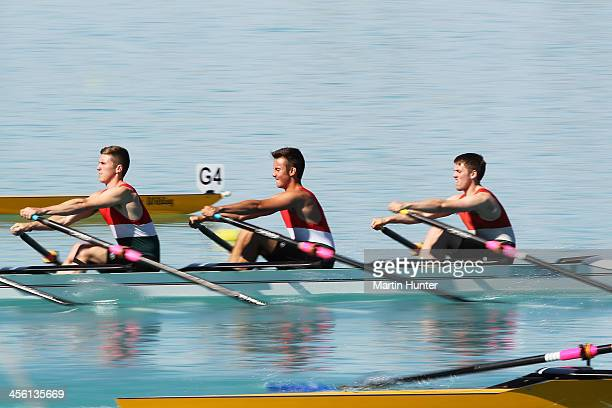 General view of the Boys Coxless Fours during the 2013 Meridian Otago Rowing Championships at Lake Ruataniwha on December 14, 2013 in Central Otago,...