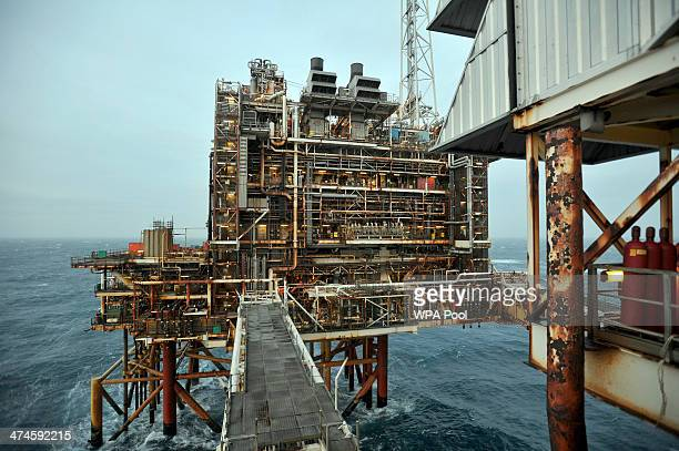 General view of the BP ETAP oil platform in the North Sea on February 24 around 100 miles east of Aberdeen, Scotland. The British cabinet will meet...