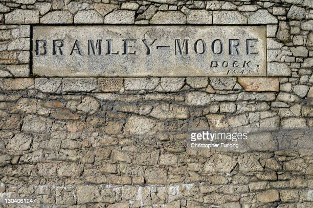 General view of the Bramley Moore Dock where Everton Football Club plan to build their new stadium on February 25, 2021 in Liverpool, England....