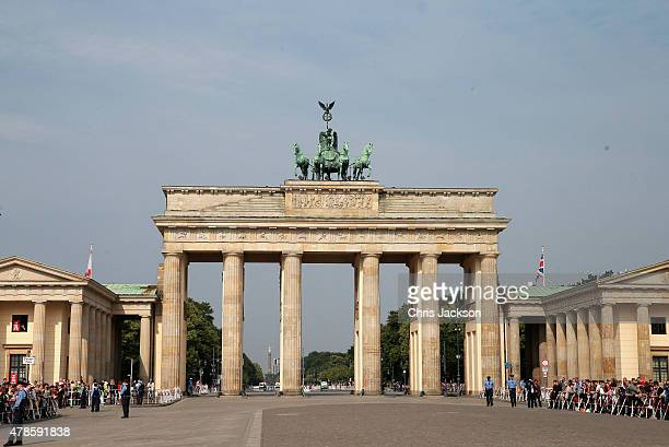 A general view of the Brandenburg Gate on the final day of a four day State Visit to Germany on June 26 2015 in Berlin Germany