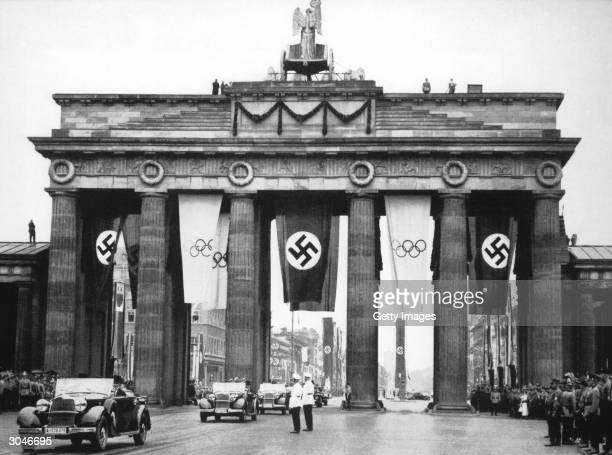 General view of the Brandenburge Gate as Germany hosts the XI Olympic Games in August of 1936 in Berlin Germany