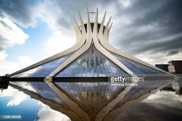 General view of the Brasilia Cathedral closed on Palm Sunday during the coronavirus pandemic on April 5 2020 in Brasilia Brazil The faithful were...