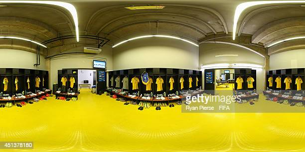 A general view of the Brazil dressing room before the 2014 FIFA World Cup Brazil Round of 16 match between Brazil and Chile at Estadio Mineirao on...
