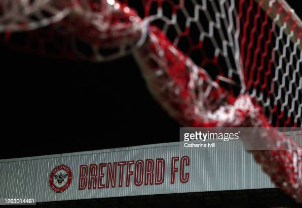 General view of the Brentford club badge behind the goal net inside the stadium after the Sky Bet Championship Play Off Semifinal 2nd Leg match...