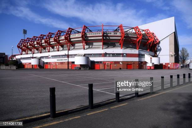 General view of the Bridgford stand of the City Ground on March 21, 2020 in Nottingham, England. All English football has been postponed until at...