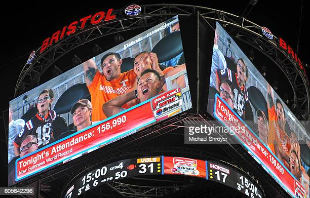 A general view of the Bristol Motor Speedway scoreboard Colossus during the game between the Virginia Tech Hokies and the Tennessee Volunteers on...