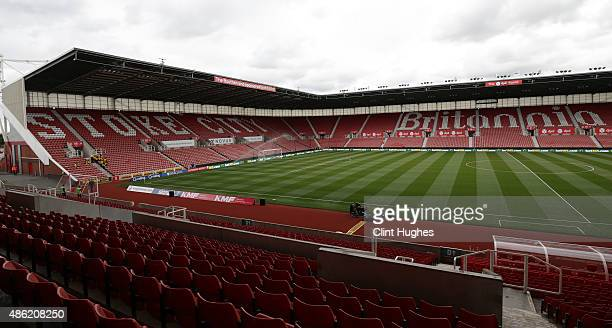 A general view of the Britannia Stadium during the Barclays Premier League match between Stoke City and West Bromwich Albion at Britannia Stadium on...