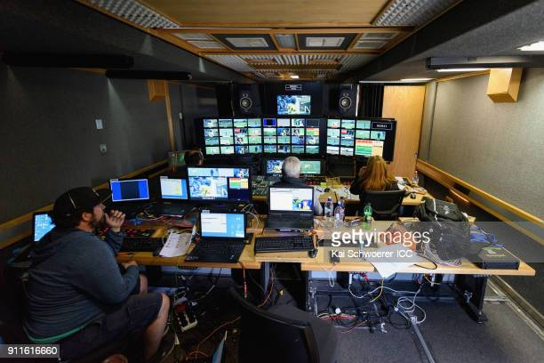 General view of the broadcast area during the ICC U19 Cricket World Cup Semi Final match between Australia and Afghanistan at Hagley Oval on January...