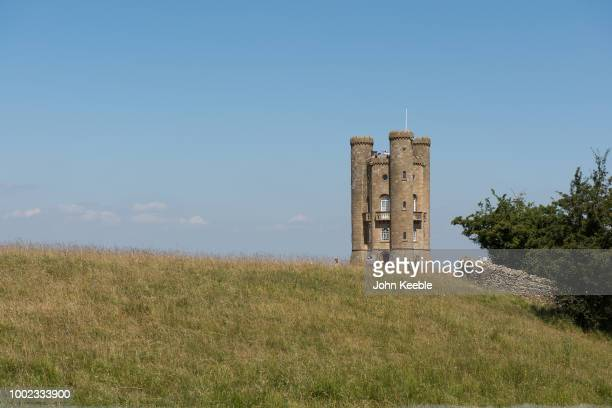 A general view of the Broadway Tower folly on Broadway Hill in the Cotswolds on July 11 2018 in Broadway England The tower completed in 1798 the...