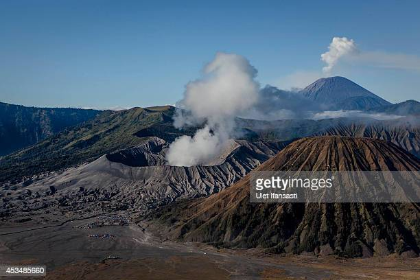General view of the Bromo Tengger Semeru National Park with Mount Bromo the location of the Tenggerese villages where the Tenggerese Hindu Yadnya...