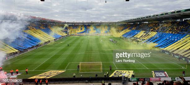 General view of the Brondby IF fan tifo prior to the Danish Superliga match between Brondby IF and FC Copenhagen at Brondby Stadion on November 4...