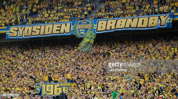 General view of the Brondby IF fans during the Danish Alka Superliga match between Brondby IF and AaB Aalborg at Brondby Stadion on May 21 2018 in...