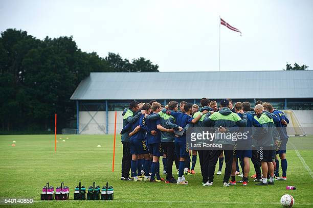 General view of the Brondby IF players huddle during the Brondby IF training session at Brondby Stadion on June 14 2016 in Brondby Denmark