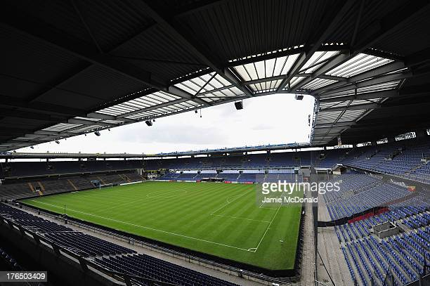 A general view of the Brondby Stadium during the international friendly match between Chile and Iraq at the Brondby Stadium on August 14 2013 in...