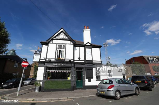 General view of The Brook pub on the corner of the stadium ahead of the Sky Bet Championship Play Off Semifinal 2nd Leg match between Brentford and...