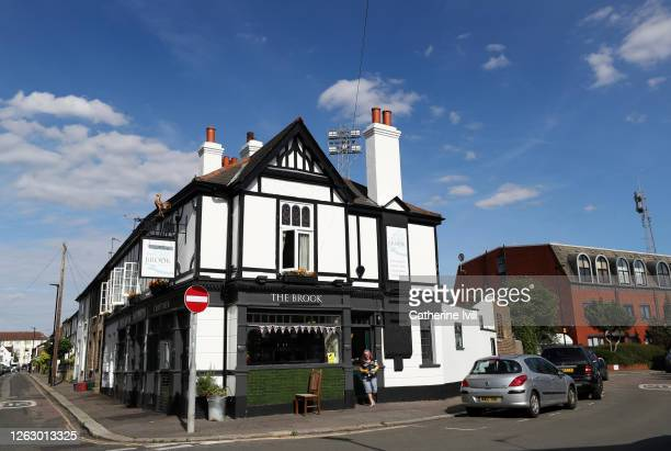 General view of The Brook pub on the corner of the stadium ahead of the Sky Bet Championship Play Off Semi-final 2nd Leg match between Brentford and...