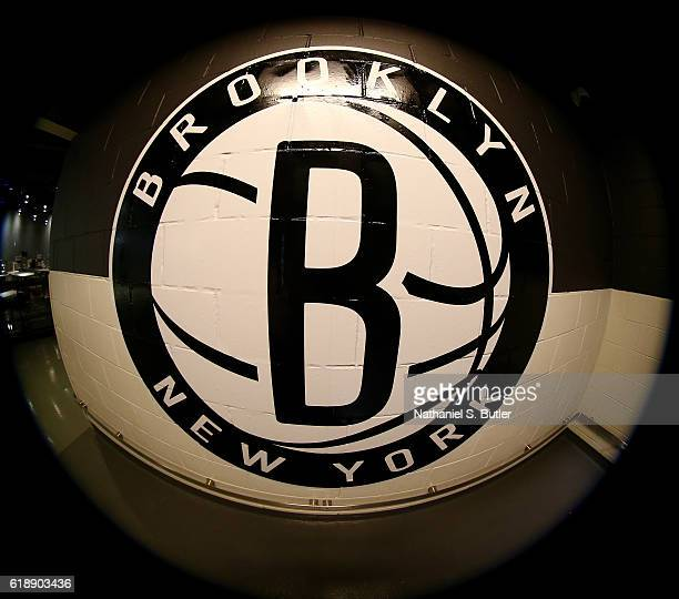 A general view of the Brooklen Nets logo before a game against the Indiana Pacers on October 28 2016 at Barclays Center in Brooklyn New York NOTE TO...